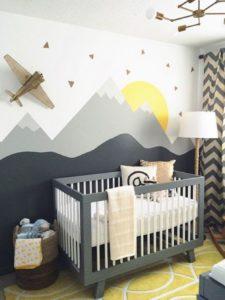 Diy peindre un mur montagne pour une chambre d 39 enfant - Comment peindre une chambre d enfant ...
