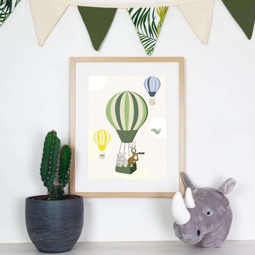 Affiche Leo le rhinoceros en mongolfière thème savane