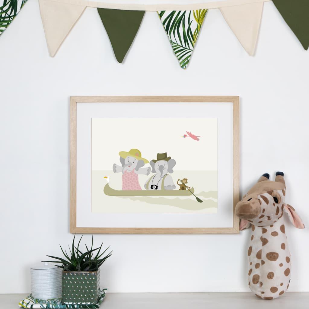 Affiche éléphant pirogue chambre bébé ou enfant