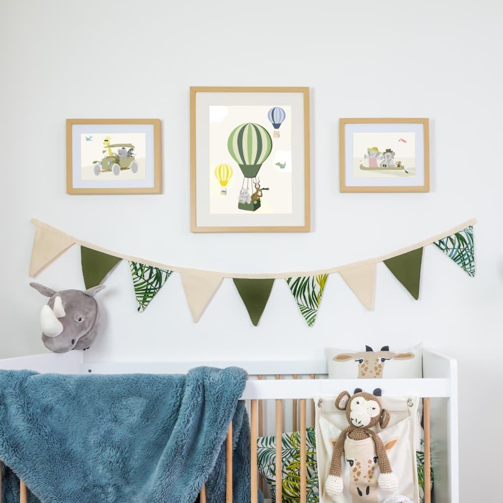 Trois affiches pour chambre bébé ou enfant sur le thème savane