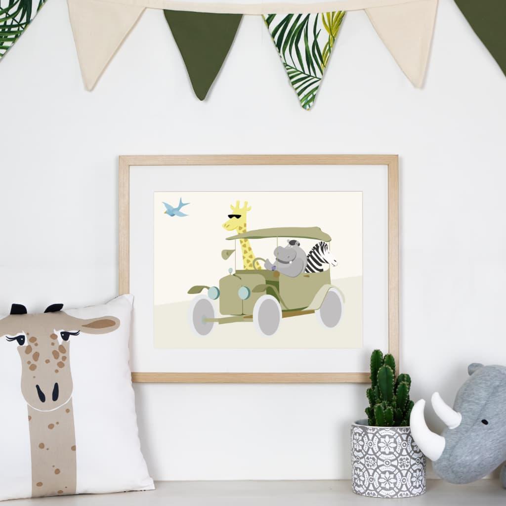 Affiche hippopotame girafe voiture chambre bébé ou enfant