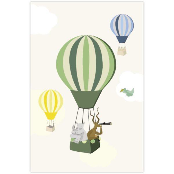 Affiche rhinocéros et gazelle dans une montgolfière