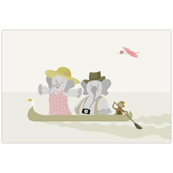 Affiche deux éléphants sur un fleuve dans une pirogue
