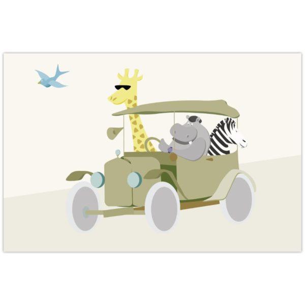 Affiche Hippopotame girafe zèbre safari