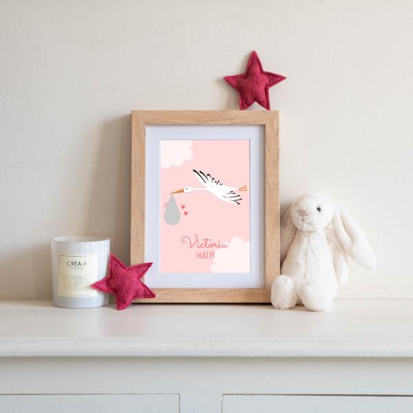 Carte personnalisée Ségo la cigogne - Fond rose