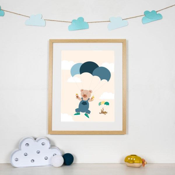 Affiche chambre parachute bleu